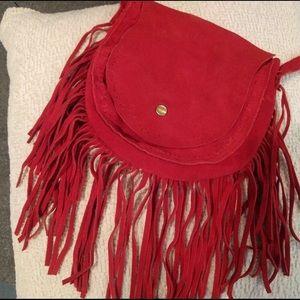 Red suede fringe cross body bag